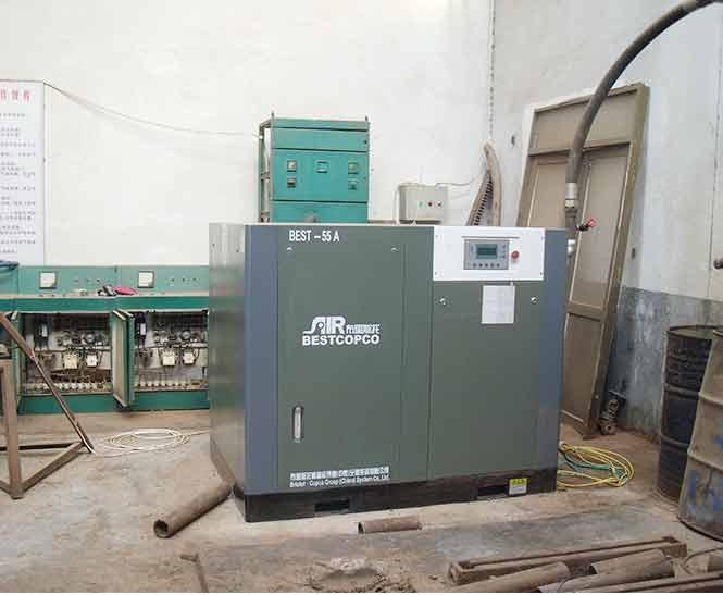 布里斯托助力上海某喷砂公司螺杆空压机整机设备定制案例