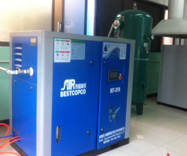 22KW新款无油水润滑螺杆空压机助力磨具工厂